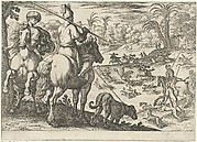 Ostrich Hunt from a Set of Ten Hunting Scenes (1609)