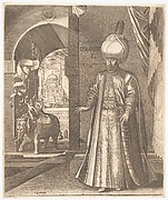 Sultan Süleyman and the Süleymaniye Mosque, Constantinople, 1574 (or earlier) , altered in 1688 to represent Ibrahim I