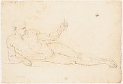 Nude Man Reclining (recto); Man Facing Left with Out-stretched Arms (verso)
