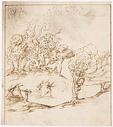 Recto: Landscape with Trees and Figures (? Remarks on the  Winds and the Lay-out of the City; Vitruvius, Book 1, Chapter 6, nos. 2, 3): Verso: Blank.