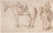 Two studies of a saddled horse and of a horse with a boy astride; verso: Study of a bean plant