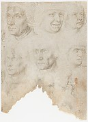 Studies of ten (?) heads and two ears (recto); Studies of three figures and a head (verso)