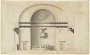 Cross-section of a chapel (?); verso: Pavillion in Neogothic style