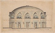 Cross-Section of a Domed Room with Urns and Candelabra