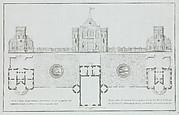 Façade et plan de l'Amirauté dans le jardin à Tsárskoye Selò...