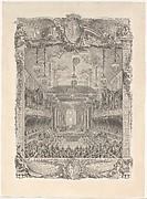 Decoration de la salle de spectacle construite a Versailles pour la representation de la Princesse de Navarre