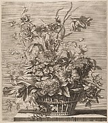 Basket of Flowers from the Book of Several Baskets of Flowers, Designed and Engraved by Baptiste Monnoyer (Livre de Plusieurs Corbeilles de Fleurs dessiné et gravé par Baptiste Monnoyer)