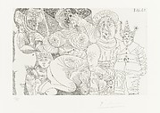 A Woman in a Hat with a Man in a Turban, Clown, Putto and Spectator, from 347 Suite