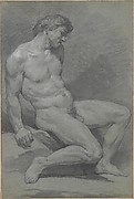 Seated Male Nude Facing Right