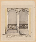 Elevation for a stairway and a second en suite drawing (unmatted): design for ironwork balustrade