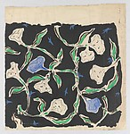 Textile Design with a Pattern of White and Blue Flowers on a Black Ground