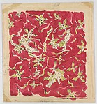 Textile Design with Fairies or Little Girls and Green Flowers on a Red Ground