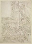 Project for a Rectangular Ceiling with Papal Coat of Arms (recto); Design for a Courtyard (verso)