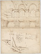 Pantheon, portico,  plan (recto) Pantheon, portico, details and perspective (verso)