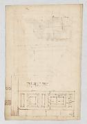Pantheon, door elevation and details (recto) Pantheon, pilaster capital profile and projected elevation, column diagram, bronze door detail (verso)