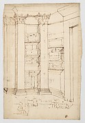 Pantheon, vestibule, perspective; panel moulding, profiles (recto) Pantheon, rectangular niche, plan; half round niche, plan (verso)