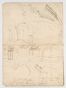 Pantheon, dome, section details; alcove, section and details (recto) Pantheon, rotonda, upper order, elevation and details (verso)
