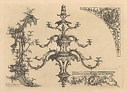 12 plates from 'A New Book of Ornaments with Twelve Leaves Consisting of Chimneys, Sconces, Tables, Spandle Panels, Spring Clock Cases, Stands, a Chandelier and Girandole, etc.'