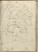 Roman Arch with Road Below and Trees Above (Smaller Italian Sketchbook, leaf 34 recto)
