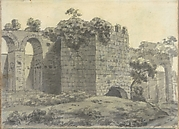 Roman Ruins Including an Arched Aqueduct and Tower (Smaller Italian Sketchbook, leaf 2 recto)