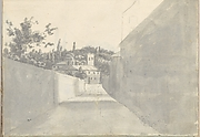 Townscape with a Walled Street and Distant Villa (Smaller Italian Sketchbook, leaf 7 recto)