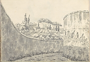 Landscape with a Curved Wall, Round Tower and Distant Villa (Smaller Italian Sketchbook, leaf 8 recto)