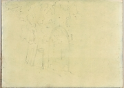 Trees Next to an Arched Opening Containing Steps (Smaller Italian Sketchbook, leaf 17 recto)