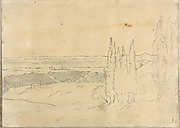 Landscape with Cedars and Buildings (Smaller Italian Sketchbook, leaf 24 recto)