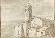Church with a Tiled Roof and Tower (Smaller Italian Sketchbook, leaf 36 recto)