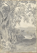Landscape with Trees and Distant Hills (Smaller Italian Sketchbook, leaf 37 recto)