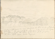 Landscape with Umbrella Pines and Distant Mountain (Smaller Italian Sketchbook, leaf 41 recto)