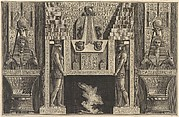 Chimneypiece in the Egyptian style: Giant figures supporting the lintel, flanked by chairs, from Diverse Maniere d'adornare i cammini... (Diverse Ways of ornamenting chimneypieces...)