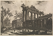 Another view of the remains of the Pronaos of the Temple of Concord [The Temple of Saturn with Arch of Septimius Severus in left background], from Vedute di Roma (Views of Rome), part I
