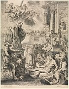 Reproductive Print of the Miracles of St. Francis Xavier Altarpiece