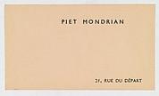 Piet Mondrian / 26, Rue Du Départ