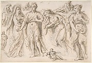 Studies of draped female and male figures; verso: Studies of draped female figures