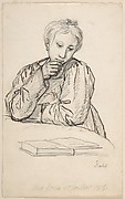 Portrait of Eline Marie Heger as a Child, Leaning on a Table, Looking at a Book