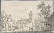 Village Street Scene with a Church
