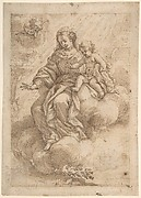Madonna and Child Seated on Clouds (recto); Madonna and Child in Reverse (verso)