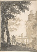 Landscape with a Mounted Herdsman and Cows, a City in the Background