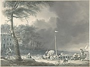 A Stormy Scene with Figures Unloading Boats Near a House on the Water's Edge