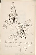 Church Tower with Inscription in Spanish to Avery. Verso: 3/4 View Portrait of Man