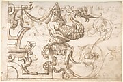 Frieze Design with Strapwork and a Satyr holding a Fantastical Creature (recto); Two Candelabra Grotesques (verso)