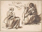 Study Sheet with Two Seated Children and an Angel
