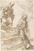 Young Man Approaching Old Bearded Man Who Stands on Steps (recto); Male Nude with Bent Right Knee (verso)