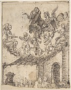 Fragment of Nativity Scene with Music-Making Angels on Clouds Above