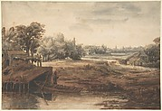 River Landscape with a Man Standing by a Boathouse