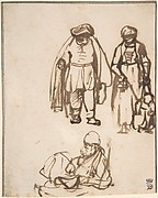 Studies of Two Men and a Woman Teaching a Child to Walk