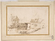 Landscape with a Draughtsman Seated by a River, a Bridge and a Cottage Behind
