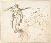 Studies for Five Figures of Angels Standing, and Seated on Clouds